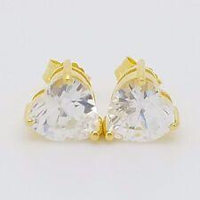 New Sterling Silver 14k 18k 22k Gold Plated Small Heart Shaped CZ Stud Earrings