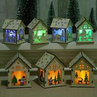 Mini LED Light Wood HOUSE Christmas Tree Hanging Ornaments Holiday Decorations