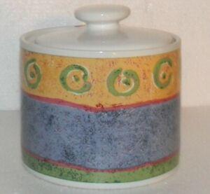 SAKURA Malaga Sugar Bowl & Lid Malaga by Sue Zipkin Abstract Art Rim