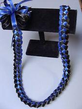Hawaiian Braid Metalic Edge Ribbon Lei Royal Blue Black