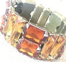 STATEMENT BRACELET CUFF CHRISTMAS CHIC BRONZE BROWN ORANGE DIAMOND Elasticated