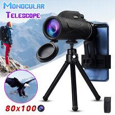 BAK4 80x100 Zoom Portable HD Prism Monocular Telescope +Tripod Hiking Travel