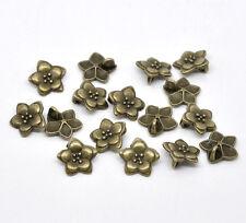 10 Antique Bronze Metal Flower Button, Charm, Pendants, 16x16mm