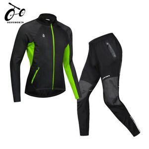 Winter Fleece Cycling Jacket & Pants Set Thermal Windproof Bicycle Jacket Warm