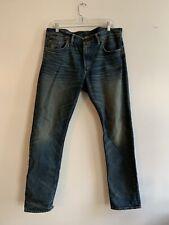 RRL Ralph Lauren Men's Blue Denim Jeans Standard Straight Leg Cut 34x30