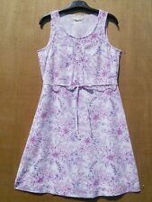 White, Pink & Purple floral Linen rich sleeveless dress size 10 GREAT CONDITION
