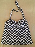 Catalina Xl Tankini Swimsuit Top Black White Pattern Halter 16-18