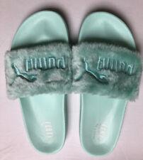 Puma Womens Fenty by Rihanna Fur Mint Slides Sz 12