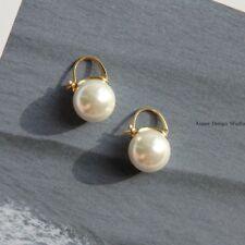 Boucles d'Oreilles Dormeuse Doré Gros Perle Blanc 14mm Class Plaqué Or QD4