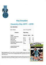 RAY GRAYDON Coventry City 1977-1978 mano originale firmato a.b.c.card