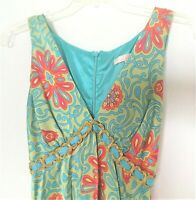 Sale! Alice and Trixie Turquoise Silk Top Empire Waist Sleeveless Size S