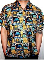 Mens Black Tribal Mexican Puerto Rican Aztec Ancient African Hawaiian Shirt 3XL