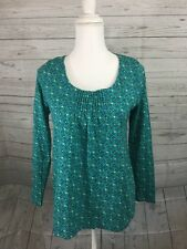 J.Jill Long Sleeve Tee Womens XS Turquoise Blue Green Geometric Print Shirt