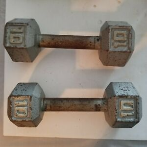 Vintage 10 Lb. Hex Dumbell Lot of 2, Toning, Therapy, Workout