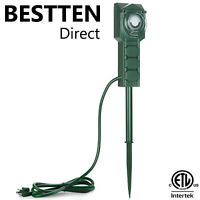 3 Outlet Outdoor Power Stake Power Strip Timer 12FT Cord  Weatherproof  ETL
