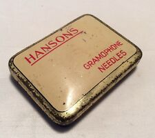 Gen Vintage 'Hansons Cream British Gramophone Needle Tin Box Advertising 1940's