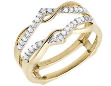 10K Yellow Gold Chevron Diamond Ring Guard Jacket Enhancer Engagement Band .25ct