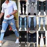 Men's Ripped Destroyed Jeans Super Skinny Slim Fit Denim Pants Frayed Trousers