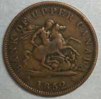 1852 Bank of Upper Canada One Cent Penny Token #SS729