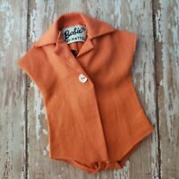 Vintage Barbie PAK Orange Blouse Bodysuit 1962 Single Button MINT