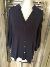 TU SIZE 16 CHARCOAL GREY TOP WITH MANDARIN COLLAR  **VERY GOOD CONDITION **