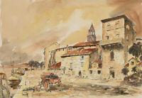 Contemporary Pen and Ink Drawing - Mediterranean Coastal Street Scene