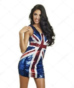 Sequined Ginger Spice Union Jack Flag Fancy Dress Outfit Small Free UK shipping