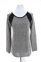 Calvin Klein Boucle Tweed Sweater Shimmer Color Block Black Gray Womens Sz M