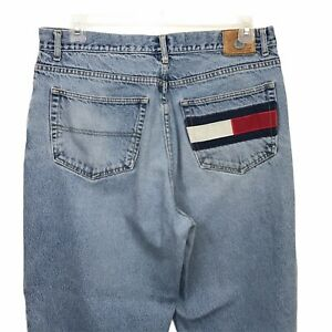 90s Tommy Hilfiger denim dark wash shorts  Logo Patch  Tommy Jeans  Tommy Gear  Size 14  Gigi  Aaliyah  TLC  90s Hip Hop  Large