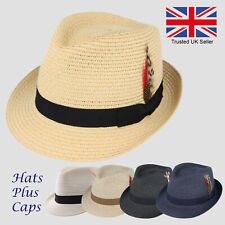 Straw Trilby Summer Sun Hat Beach Holiday Paper Fedora Crushable Style Panama