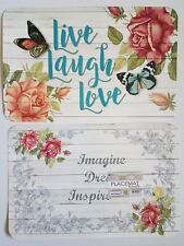 NEW Live Laugh Love Reversible Inspire Kitchen Dining Table Placemats - Set of 4