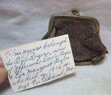 Old leather change purse. Boy who drowned in 1916