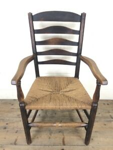 Antique Ladder Back Armchair with Rush Seat (M-1972) - FREE DELIVERY*
