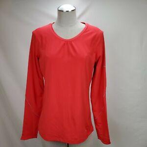 Columbia Womens Omni Shade Wick Long Sleeve Shirt Top Size Large Orange Stretch