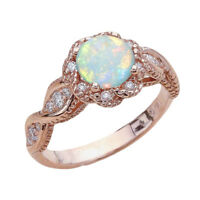 Fashion Vintage Round Gemstone Rhinestone Opal Rings Engagement Ring Band G