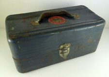 Simonsen Vintage Metal Toolbox Tackle Box Case Blue Worn Industrial Look 6x6x13