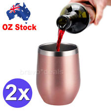 2pcs Metal Stainless Steel Wine Glass Tumbler Double Wall Insulated Rambler Cup