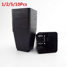 2/5/10X Square Black Plastic Plant Pot Flower Pots Home Office Decor Nursery Pot