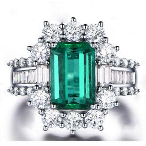 Men Women White Sapphire White Gold Filled Wedding Anniversary Emerald Ring 575