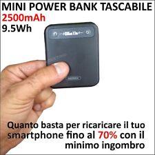 2500 mAh POWER BANK MINI MICRO CARICABATTERIE TASCABILE PER SMARTPHONE CELLULARE