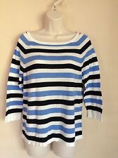 LOFT Blue, Black, And White Lightweight Sweater. Large. Gently Worn.