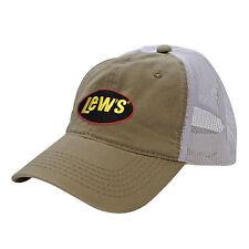 Lew's Khaki/White Mesh Universal Cap Hat NEW FREE US Shipping