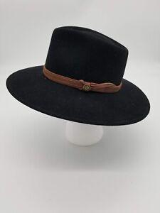 Vintage K-Hats 100% Wool Felt Cowboy Hat Small Faux Leather Strap Black