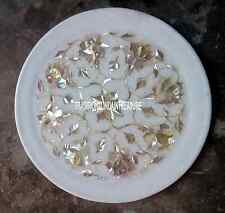 "9"" Marble Round Serving Plate Mother of Pearl Inlay Anniversary Gift Best Decor"