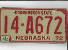 """NEBRASKA passenger 1974 license plate """"14-A672"""" ***ADAMS***"""