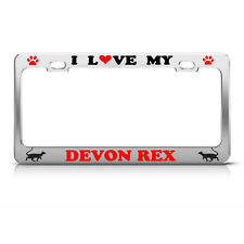 Devon Rex Cat Chrome License Plate Frame Tag Border