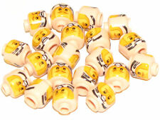LEGO LOT OF 20 NEW LIGHT FLESH MINIFIGURE HEAD DUAL SIDED ORANGE VISOR STAR WARS