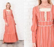 Vintage 70s Boho Dress Maxi Crochet Scalloped Lace Neckline Prairie Stripes M