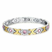 Stainless Steel Energy Magnetic Therapy CZ Women Health Care Promise Bracelet