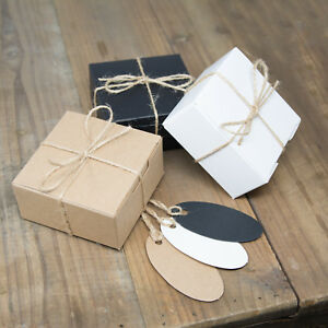 ECO KRAFT Small Square Natural GIFT BOXES Wedding Favour | Includes String/Tags